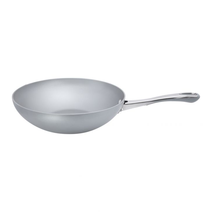 Meyer Prism 28cm Stirfry (Non stick , Induction Suitable) Hard Anodized Aluminium Fry Pans in Silver Colour by meyer