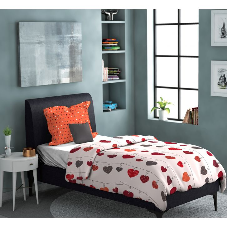 Out Of The Box Polycotton Single Bedsheet in Red Colour by Dreamline
