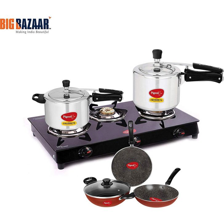 3 Burner Glass Top Gas Stove + 3 and 5 LTR Induction Base Inner lid Aluminum Pressure Cooker + 4Pc NonStick Cookware Set Aluminium Gas Stove Combo in Black Colour by Pigeon