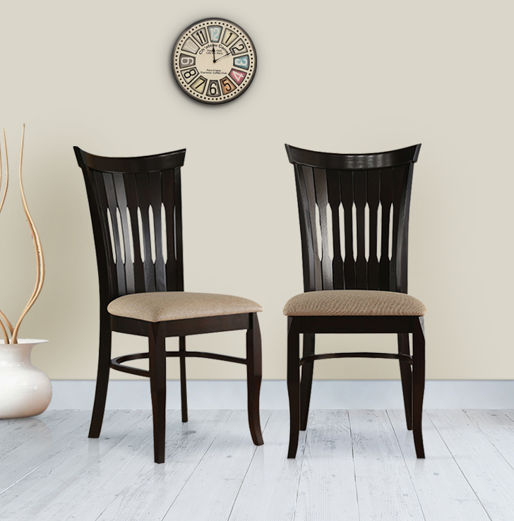 Cardiff Solid Wood Dining Chair Set of Two in Mocha Colour by HomeTown