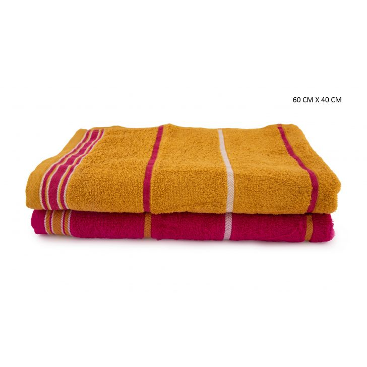 Emilia Handtowel Set Of 2 Cotton Hand Towels in Gold & Pink Colour by HomeTown