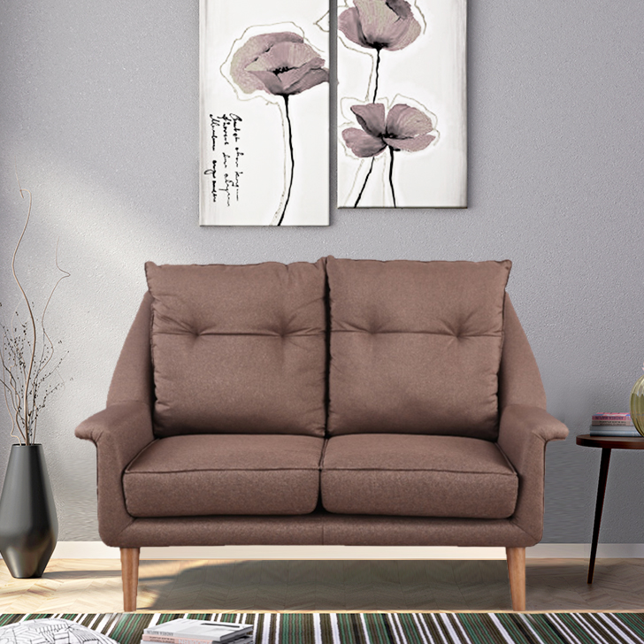 Orwell Fabric Two Seater Sofa in Brown Colour by HomeTown