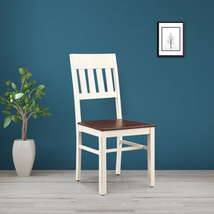 Richmond Solid Wood Dining Chair in White & Brown Colour by HomeTown