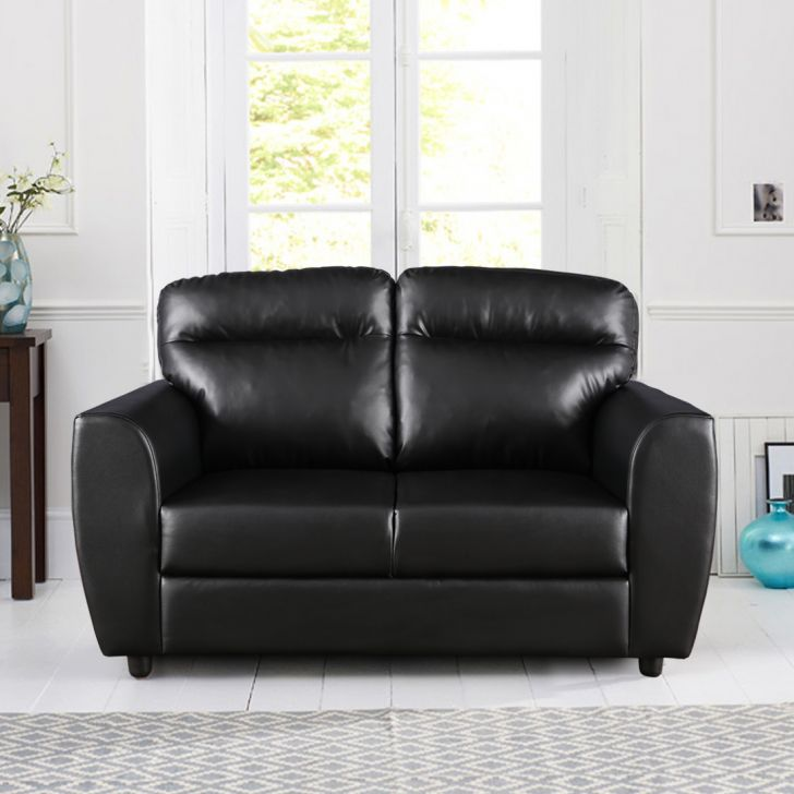 Chelsea Leatherette Two Seater Sofa in Black Colour by HomeTown