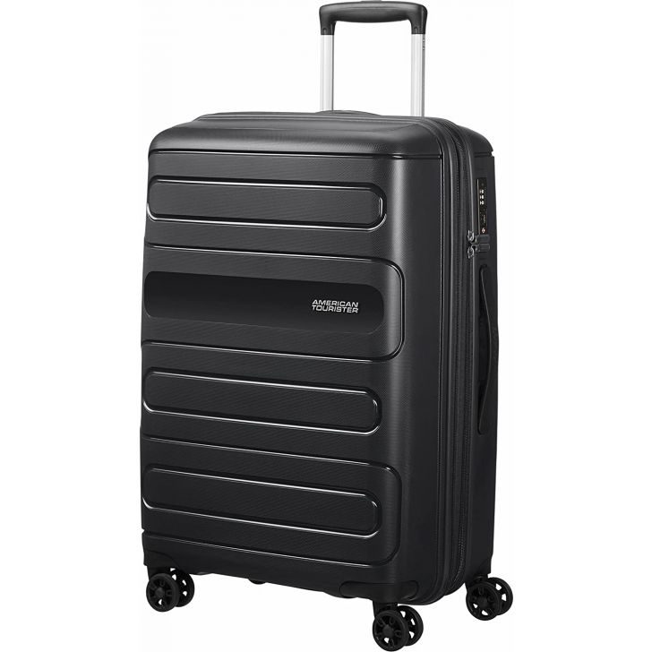 Sunside 67 cm Polycarbonate Hard Trolley in Black Colour by AMERICAN TOURISTER