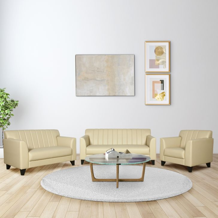 Delight Leatherette Three Seater + Two Seater + Single Seater Sofa Set in Ivory Colour