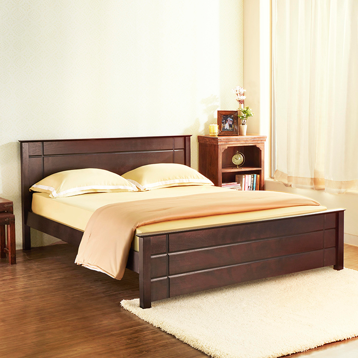 Buy Zina Solid Wood King Size Bed In Cappuccino Colour By