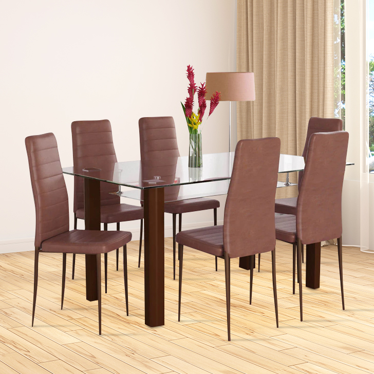 Fiesta Stainless steel Six Seater Dining Set in Brown Color by HomeTown