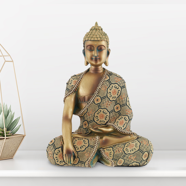 Sitting Buddha With Emb Attire Polyresin Idols in Gold Colour by Living Essence