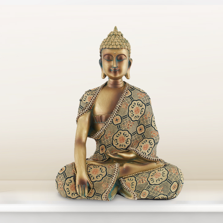 Sitting Buddha With Embellished Attire Polyresin Idols in Gold Colour by Living Essence