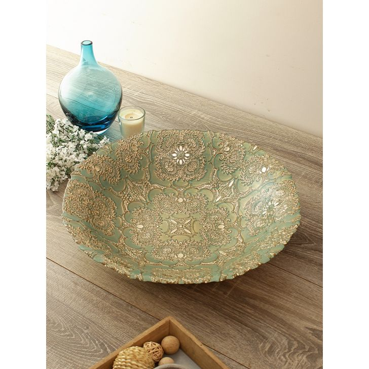 Jordan Carved Finish Glass Platter Glass Table D in Green Gold Colour by Living Essence