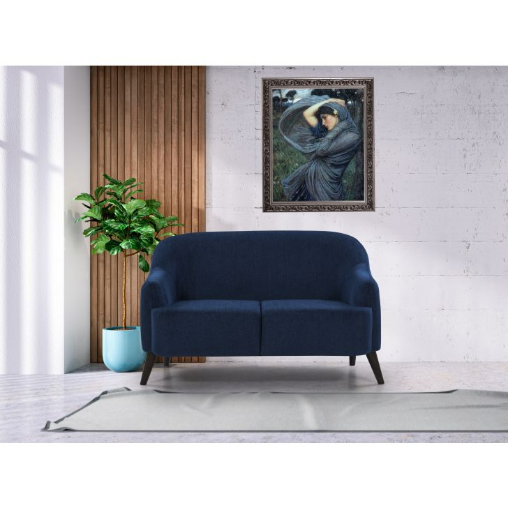 Brooke Solid Wood Two Seater Sofa in Blue Colour