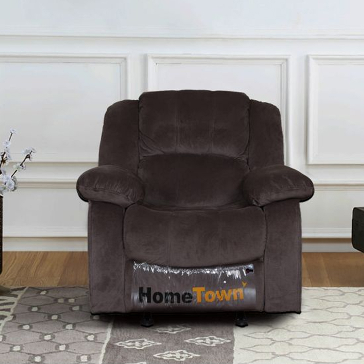 Rhea Fabric Single Seater Recliner & Rocker in Brown Colour by HomeTown