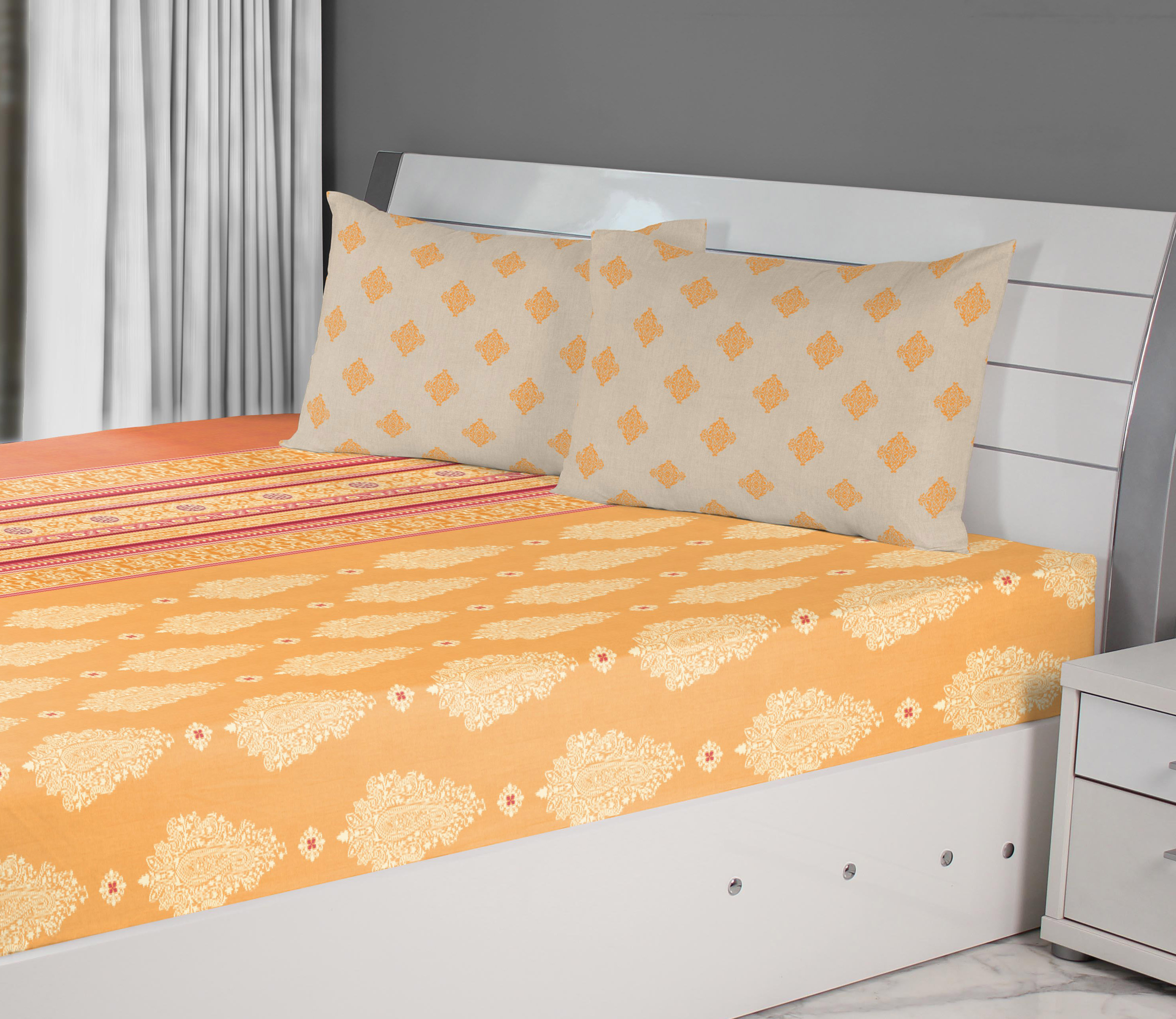 Emilia Cotton King Bedsheets in Mango Rust Colour by Living Essence