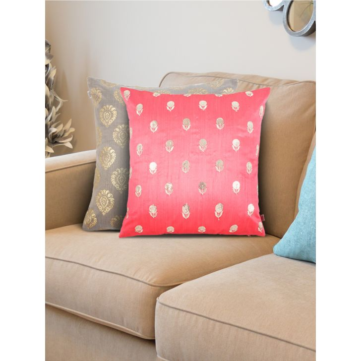 Set of 2 Polyester Cushion Covers in Grey Pink Colour by Living Essence