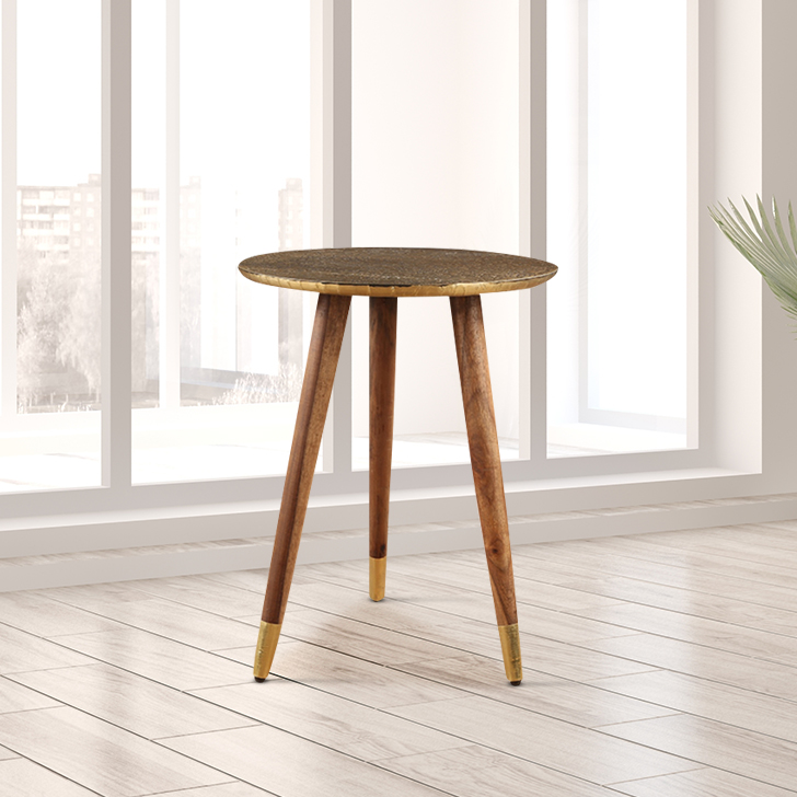Moss Solid Wood End Table in Brass Colour by HomeTown
