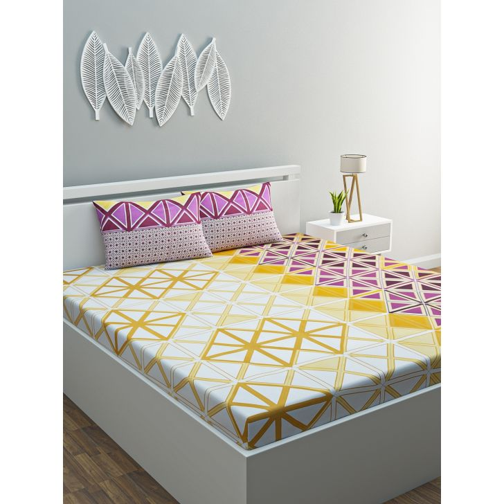 Azure Cotton Double Bedsheet 220 x 254cms in Yellow Colour