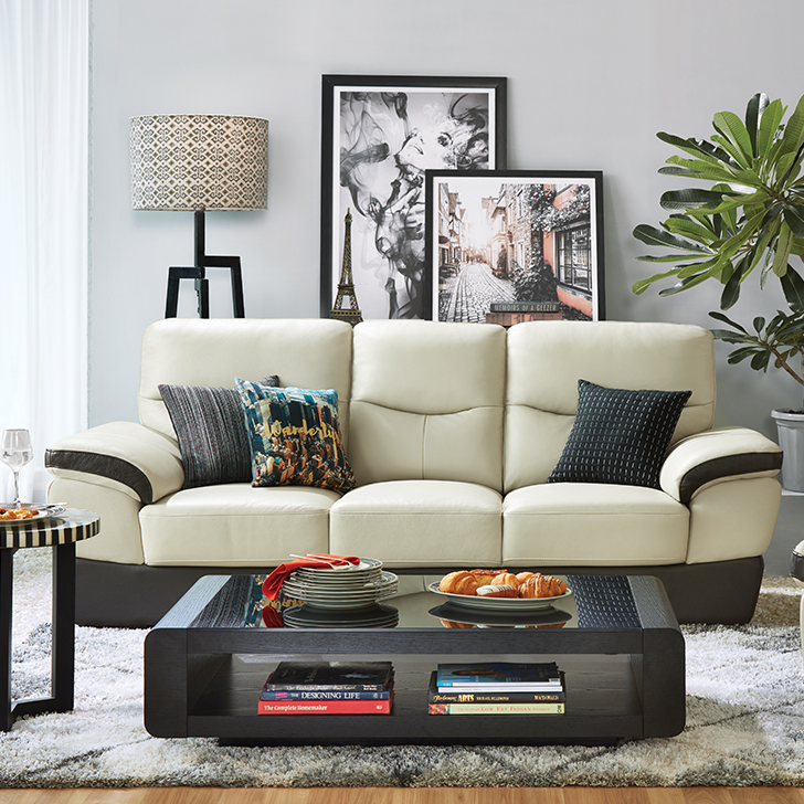 Denzel Half Leather Three Seater sofa in Beige & Brown Colour by HomeTown