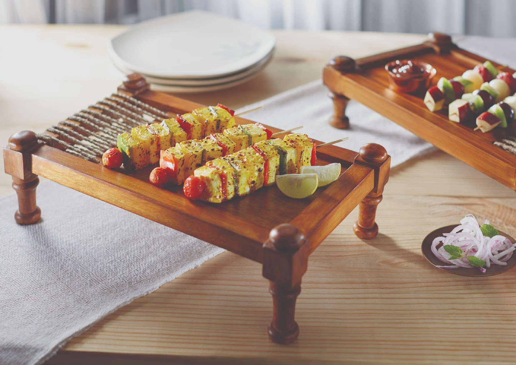 Songbird Tandoori Zaika Khat Serving Sets in Natural Wood Colour by Songbird