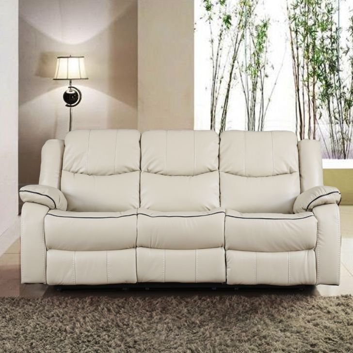 Hugo Fabric Three Seater Recliner in Beige Colour by HomeTown