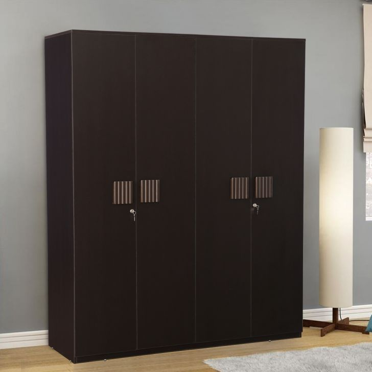 Tiago Engineered Wood Four Door Wardrobe in Wenge Color by HomeTown