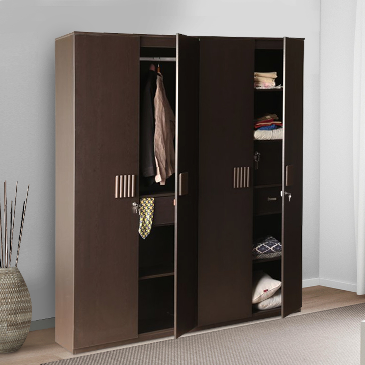 Tiago Engineered Wood Four Door Wardrobe in Wenge Colour by HomeTown