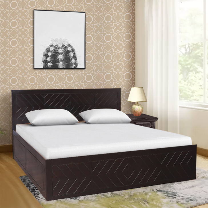 Tuscany Solid Wood Box Storage Queen Size Bed in Dark Walnut Colour by HomeTown