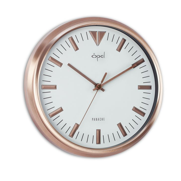 Opal White Wall Clock With Rose Gold Frame And Raised Index
