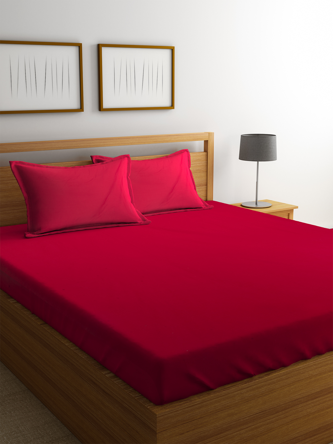 Portico Supercale Bedsheet Red Cotton Double Bed Sheets in Red Colour by Portico