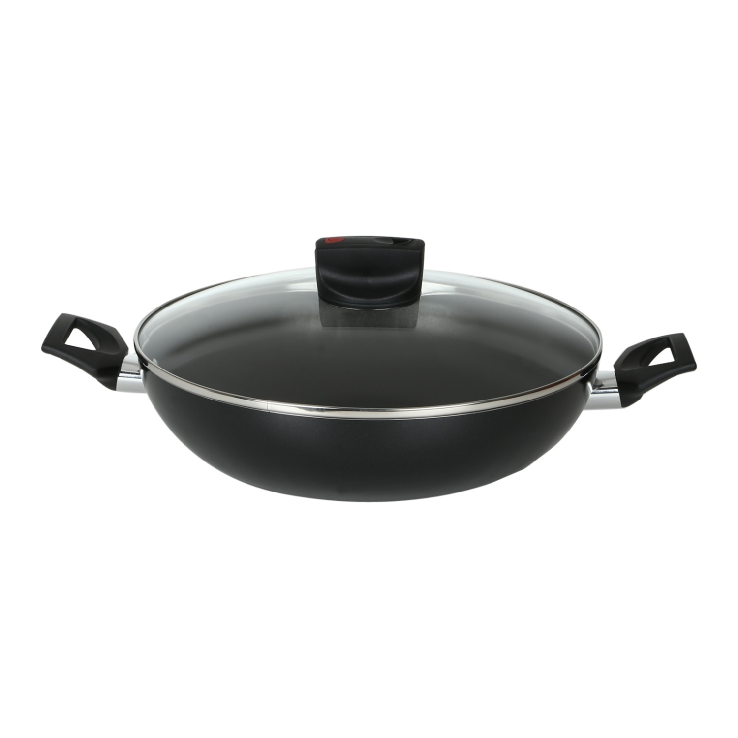 Meyer Safecook 20cm kadai (Non stick , Not Induction Suitable) Hard Anodized Aluminium Fry Pans in Black Colour by meyer