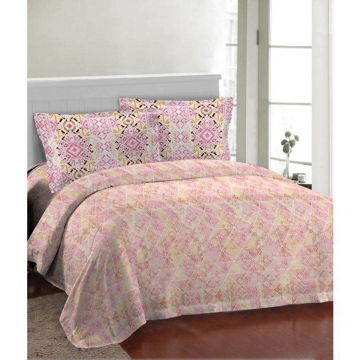 Fair Mist Polycotton Double Bedsheet in Peach Colour by Bombay Dyeing