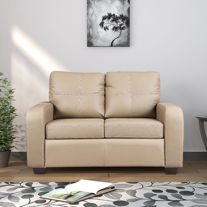 Lisbon Half Leather Two Seater sofa in Coffee Colour by HomeTown