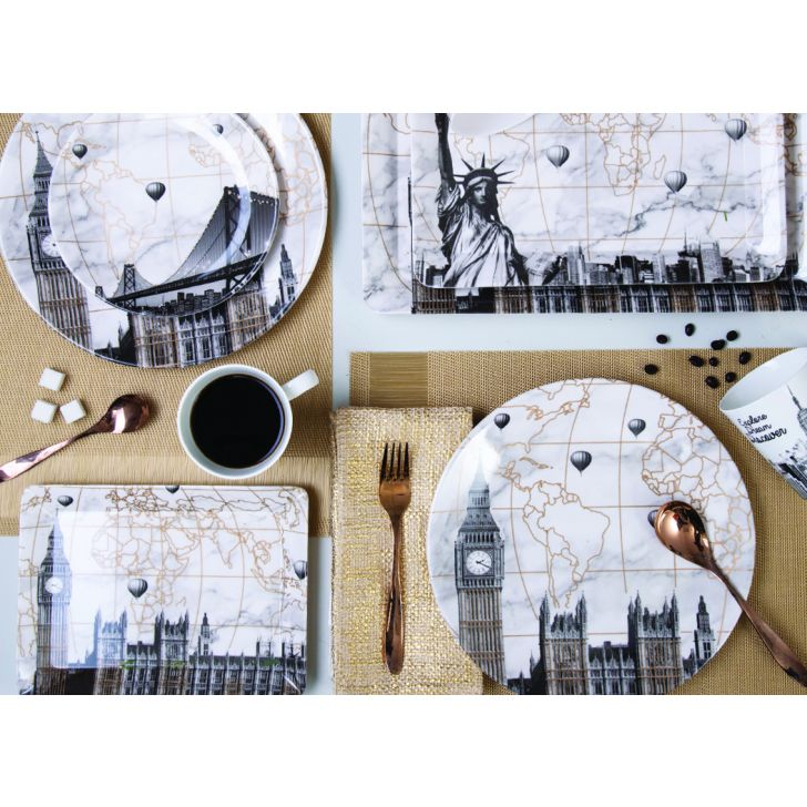 LE City Escape Gold 18 pcs Din Set Dinner Sets in Black & Gold Colour by Living Essence