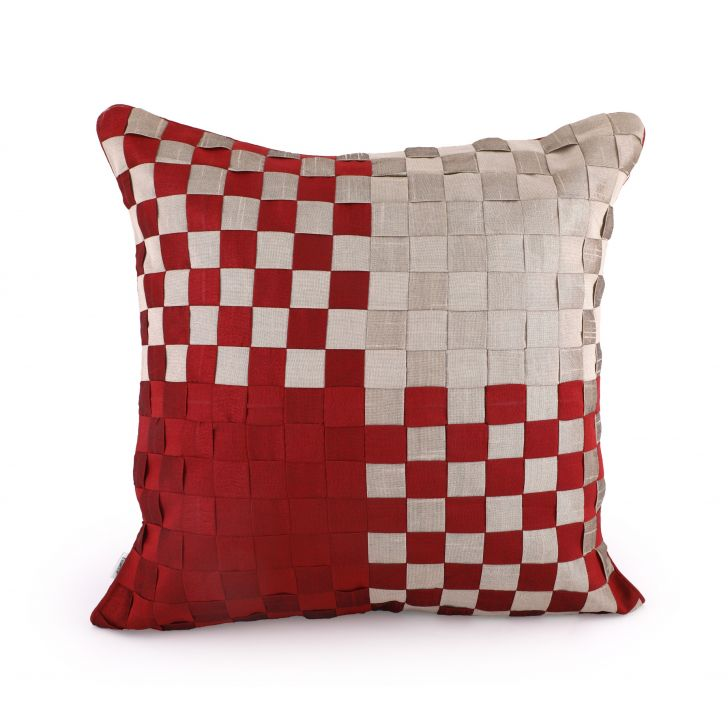 Basket Maroon Cushion Cover Cotton Cushion Covers in Maroon Colour by Living Essence