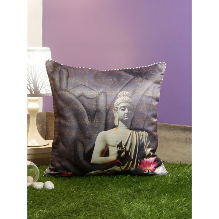 Digi Buddha Polyester Cushion Covers in Grey Colour by Living Essence