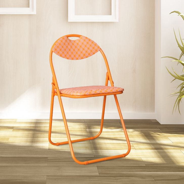 Elena Metal + Leatherette Folding Chair in Orange Colour by HomeTown