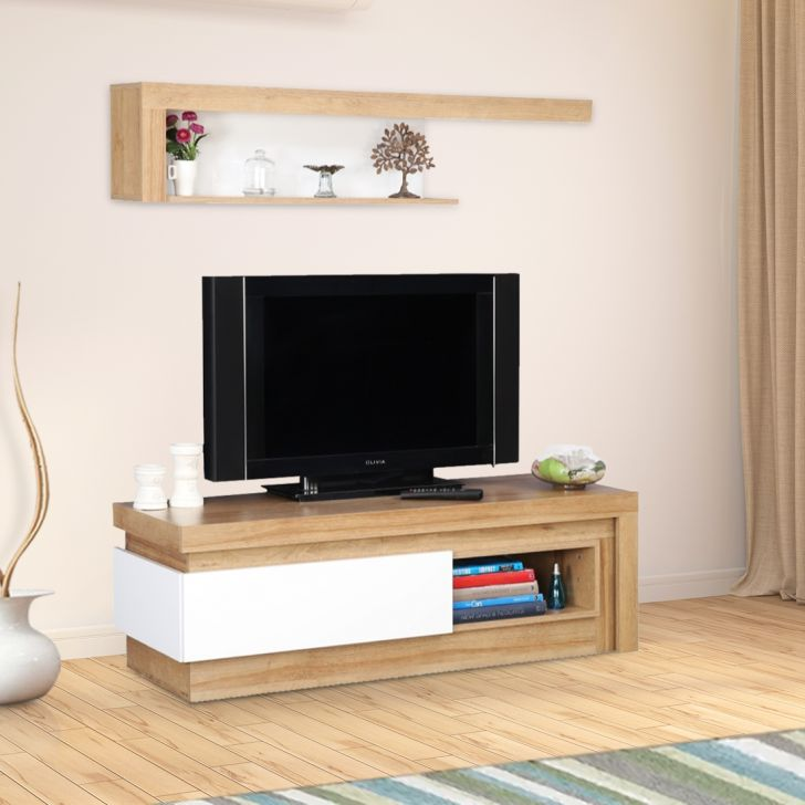 Beatrice Engineered Wood TV Unit in White High Gloss + Oak Colour by HomeTown
