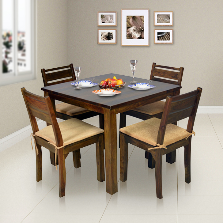 Java Solid Wood Four Seater Dining Set in Light Brown Colour by HomeTown