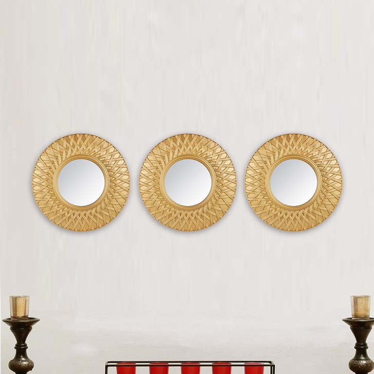 Mirage Weave Border Set Of Three Gold Mirror Polyresin and Mirror Wall Accents in Gold Colour by Living Essence