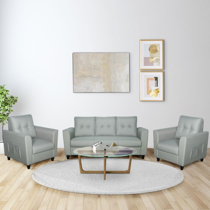 Paula Fabric Three Seater + Single Seater + Single Seater Sofa Set in Grey Colour by HomeTown