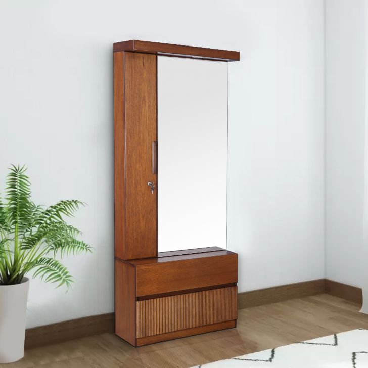 Mystique Solid Wood Dressing Table With Mirror in Walnut Colour by HomeTown