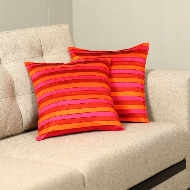 Carnival Dupion Set Of 2 Cushion Covers in Coral Colour