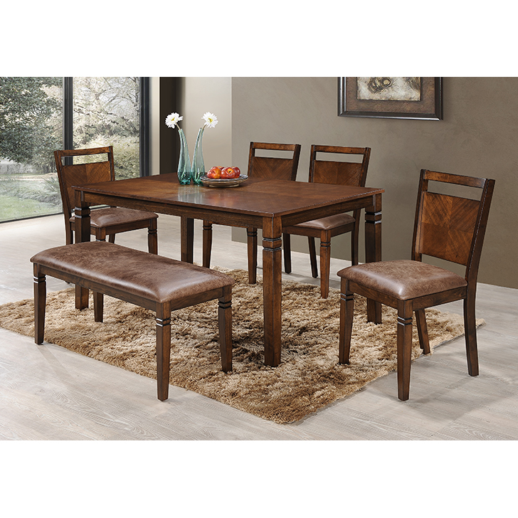 Maverick Solid Wood Six Seater Dining Set in Antique Cherry Colour by HomeTown