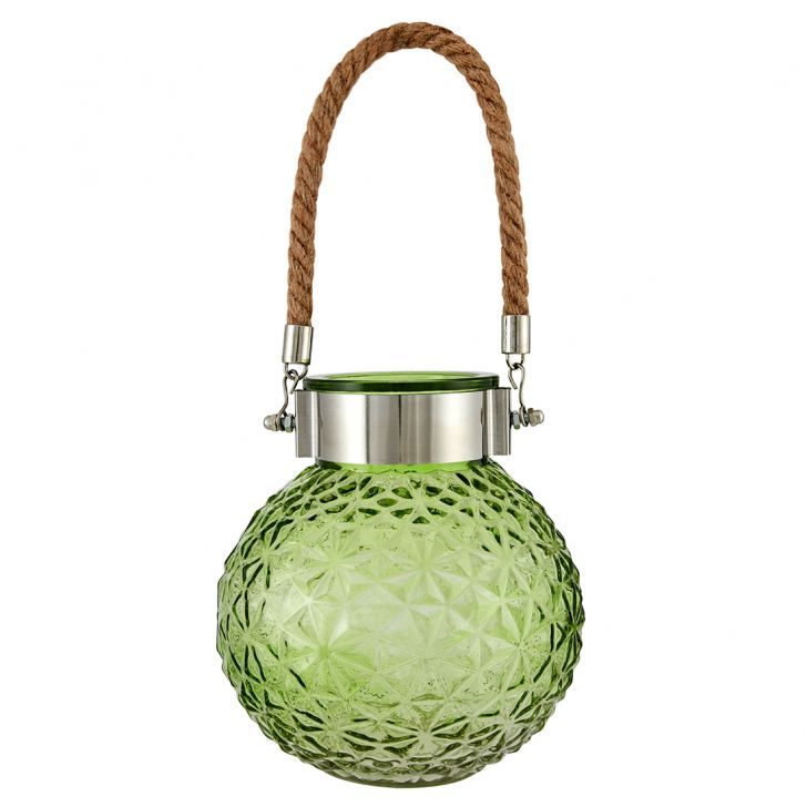Marvela With Rope Glass Candle Holders in Lime Colour by Living Essence