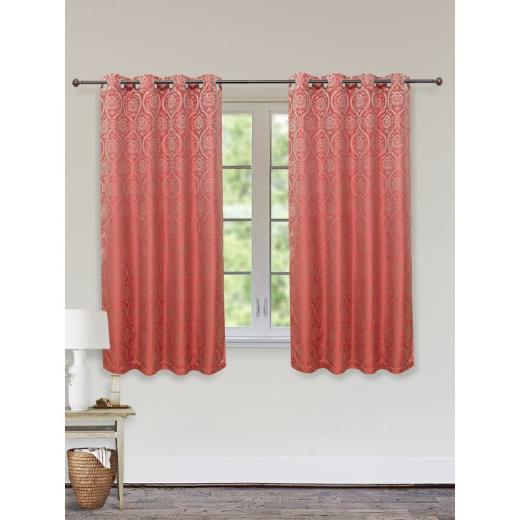 Emilia Jacquard Set of 2 Polyester Window Curtains in Maroon Colour by Living Essence