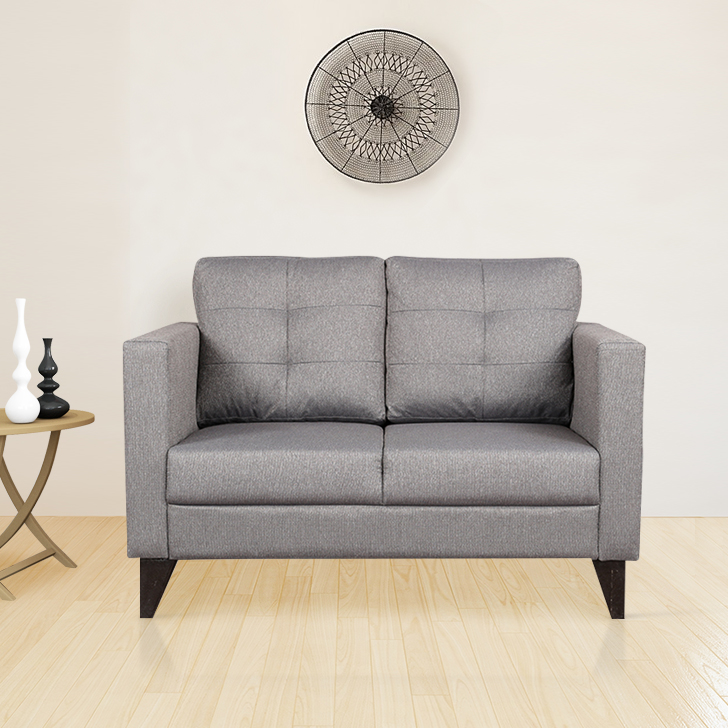 Castellar Fabric Two Seater sofa in Grey Colour by HomeTown
