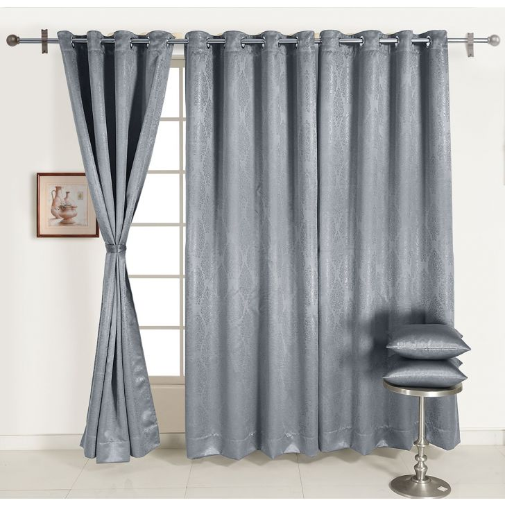 Jacquard Blackout  Xl Door Curtain 122X274 Cm In Steel Colour By Swayam