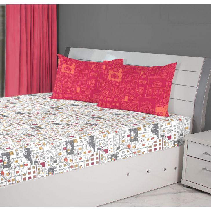 Fiesta House Cotton Double Bedsheets in Grey Colour by Living Essence