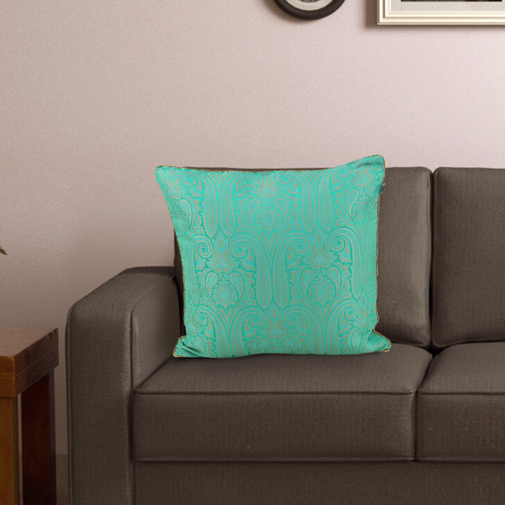 Royale Brocade Turq Polyester Cushion Covers in Turq Colour by Living Essence