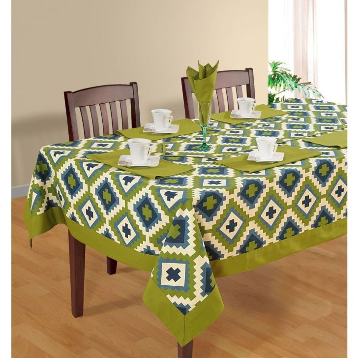 Solid Table Cover 4 Seater In Light Green Color By Swayam